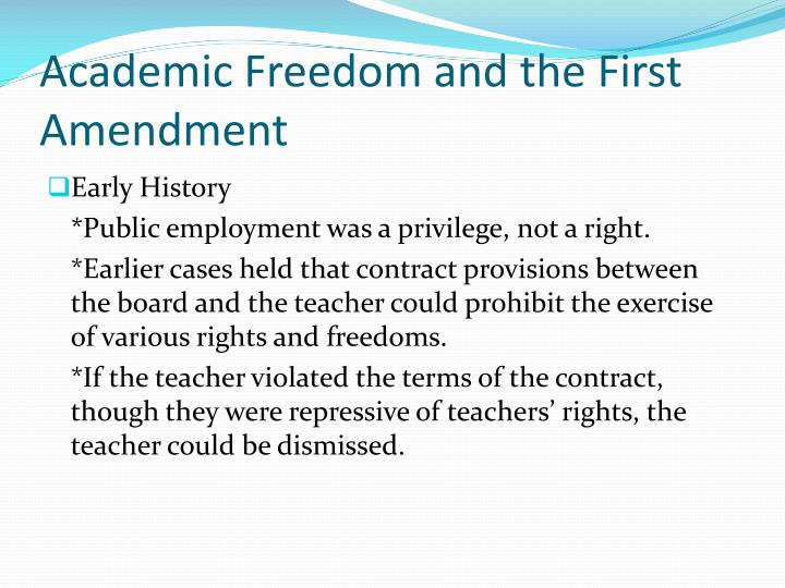 Academic Freedom and the First Amendment