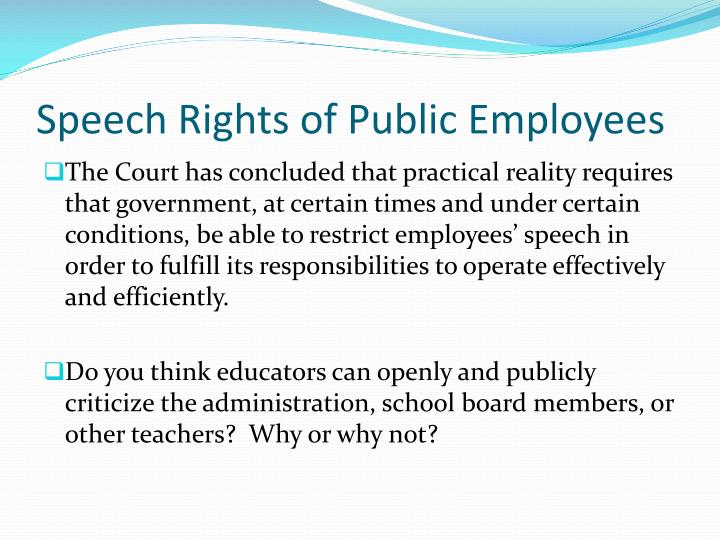 Speech Rights of Public Employees