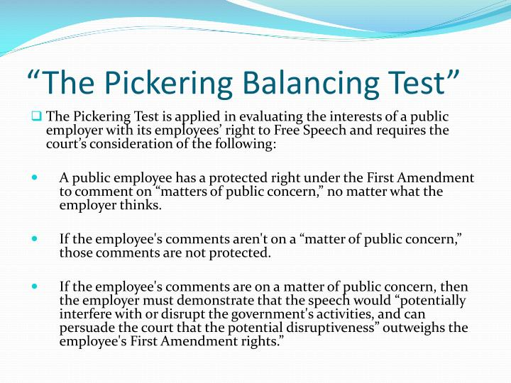 """The Pickering Balancing Test"""