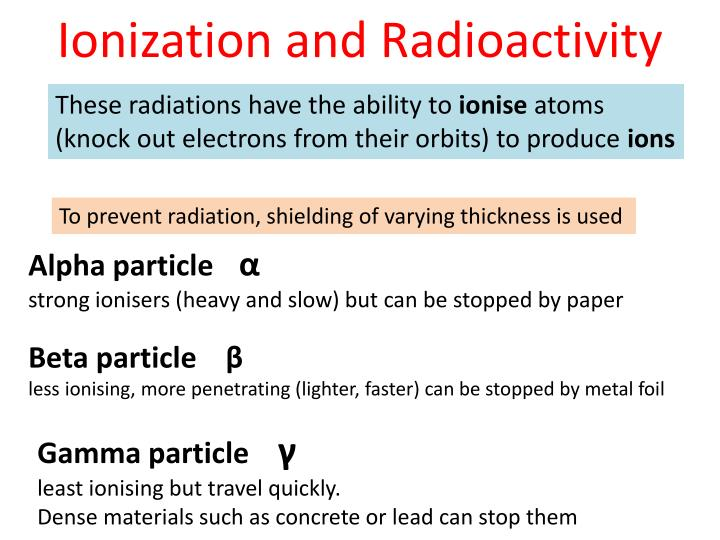 Ionization and Radioactivity