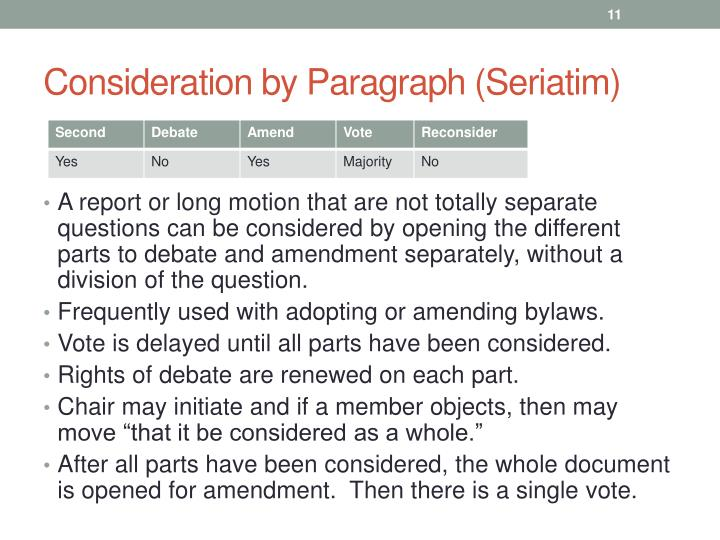 Consideration by Paragraph (Seriatim)