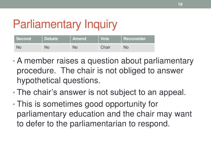 Parliamentary Inquiry