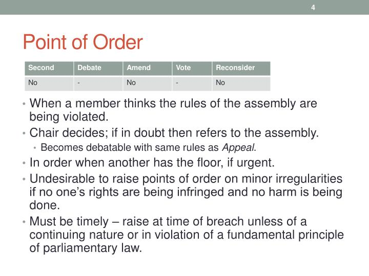 Point of Order