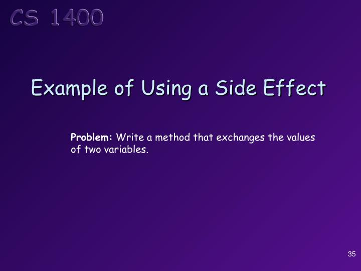 Example of Using a Side Effect