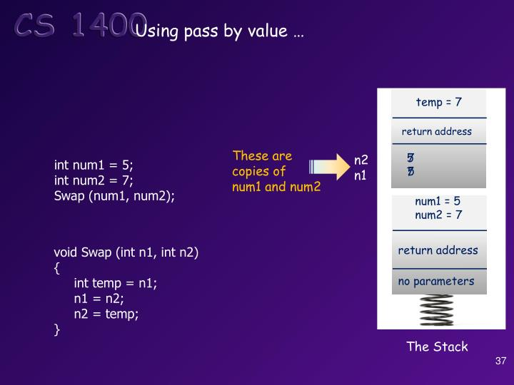 Using pass by value …