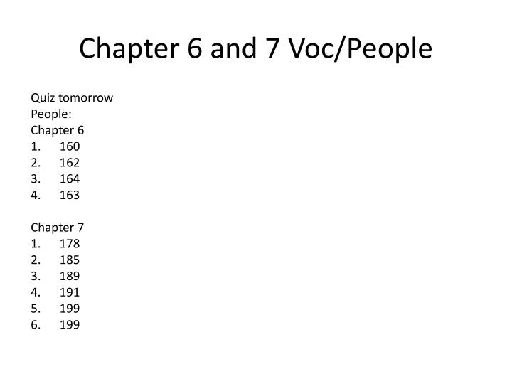 Chapter 6 and 7 Voc/People