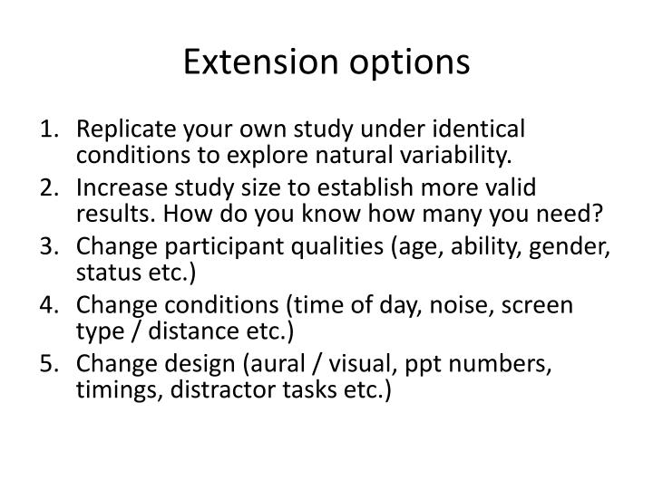Extension options