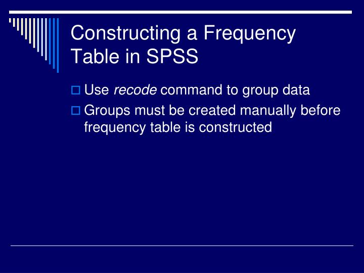 Constructing a Frequency Table in SPSS