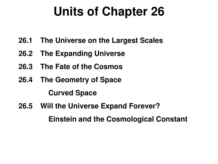 Units of chapter 26