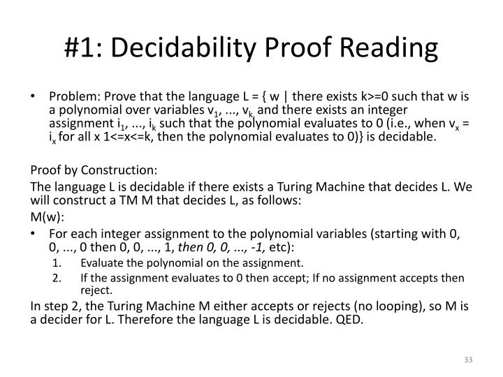 #1: Decidability Proof Reading
