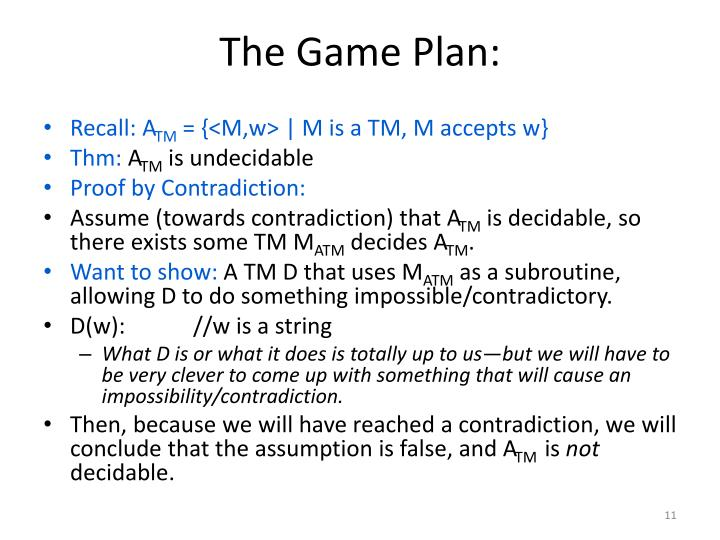The Game Plan: