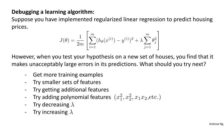 Debugging a learning algorithm: