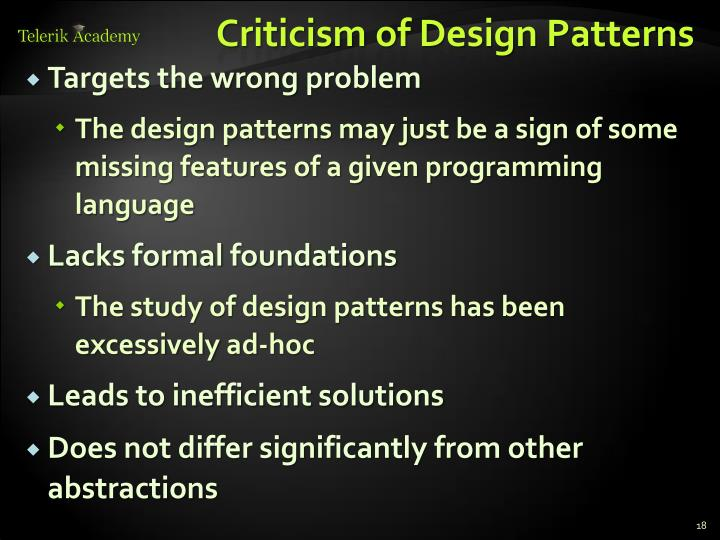 Criticism of Design Patterns