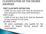 classification of the degree awarded