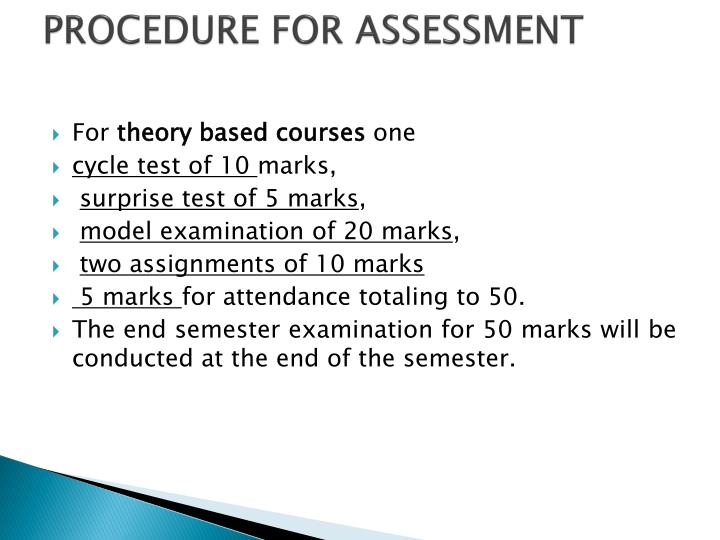 PROCEDURE FOR ASSESSMENT
