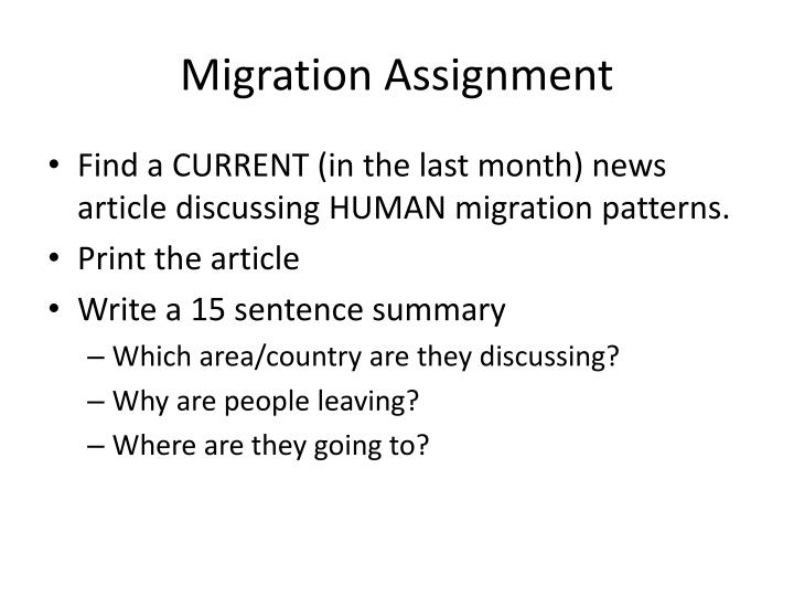 Migration Assignment