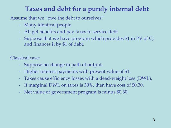Taxes and debt for a purely internal debt