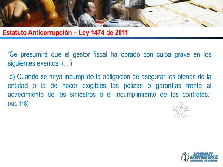 Estatuto Anticorrupción – Ley 1474 de 2011