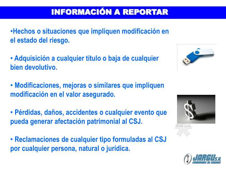 INFORMACIÓN A REPORTAR
