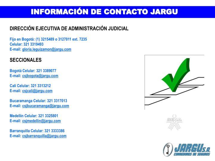 INFORMACIÓN DE CONTACTO JARGU