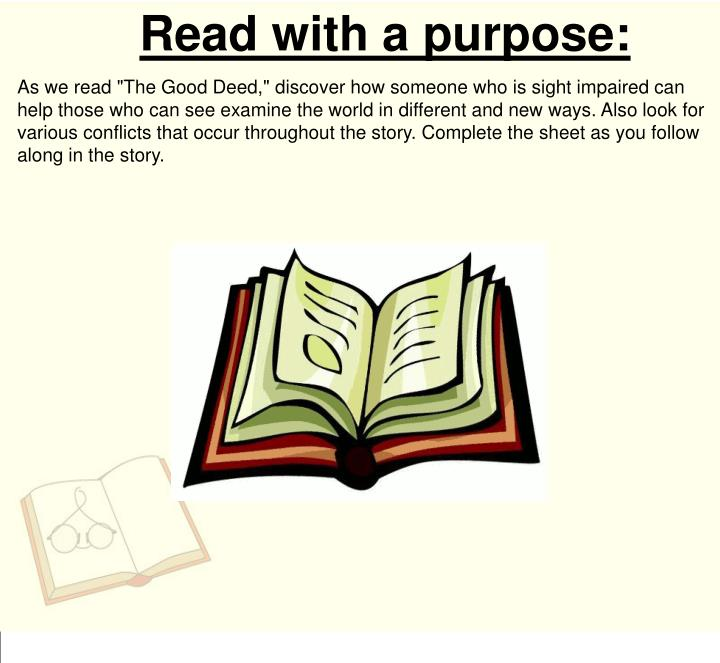 Read with a purpose: