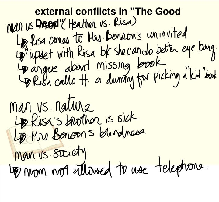 "external conflicts in ""The Good Deed"""