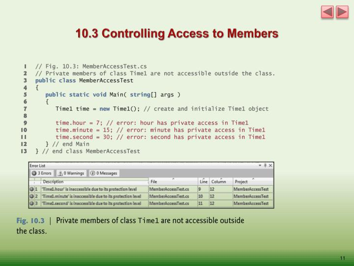 10.3 Controlling Access to Members