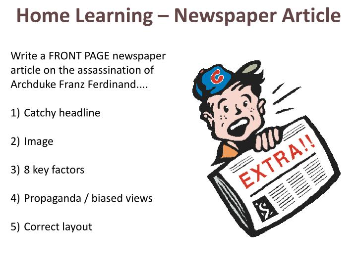 Home Learning – Newspaper Article