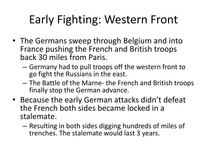 Early Fighting: Western Front