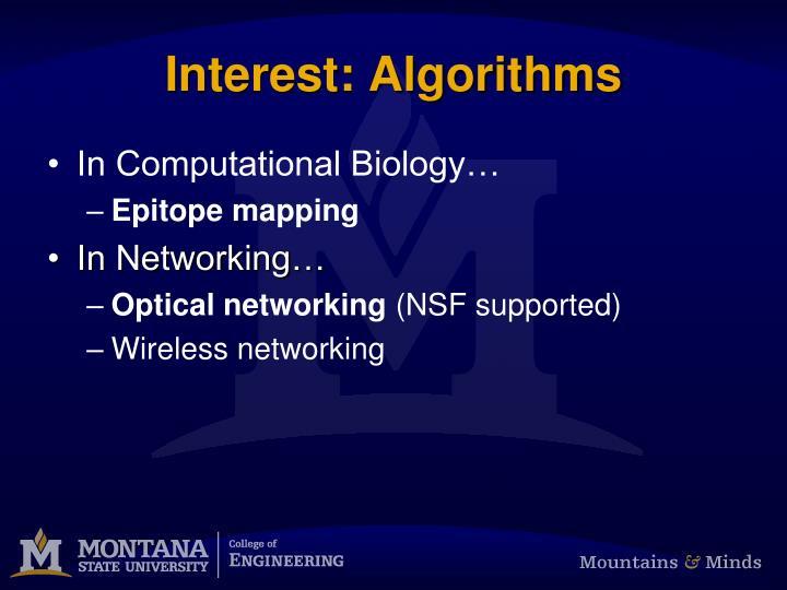 Interest: Algorithms