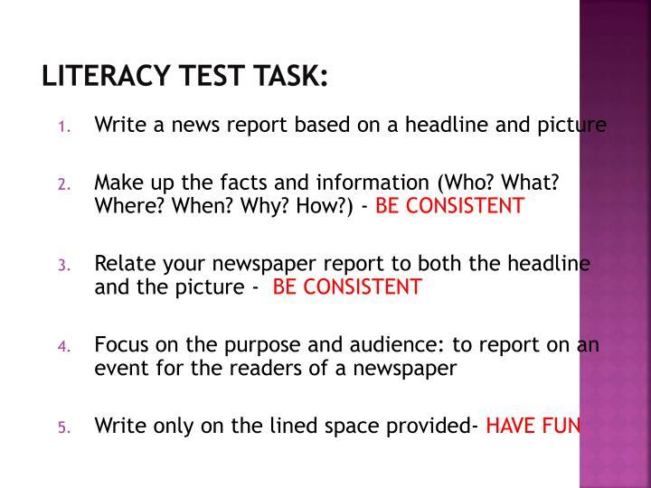 Literacy Test Task: