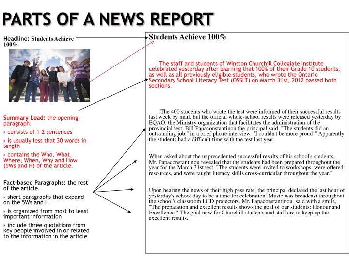 Parts of a News Report
