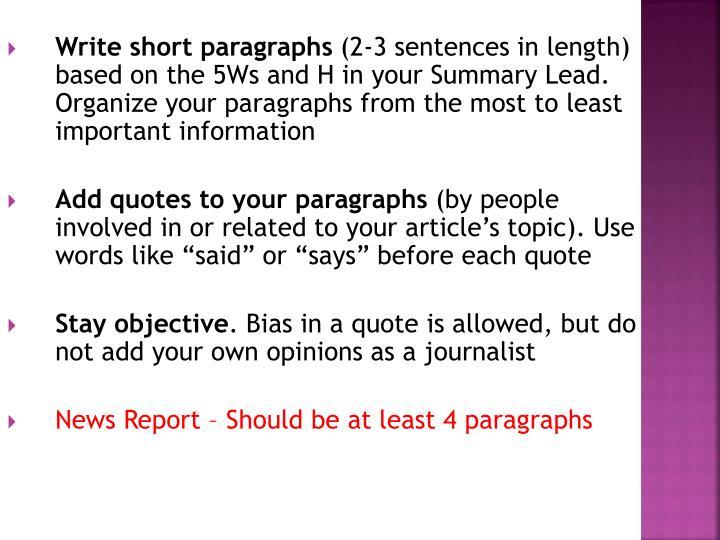 Write short paragraphs