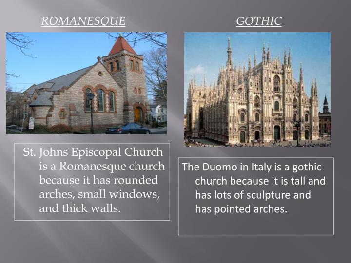 gothic vs romanesque architecture In germany more markedly than elsewhere romanesque architecture was made into something consistent, distinct from the byzantine on the one hand and from the gothic on the other but as an elaborated style, as seen in the larger monuments, it is somewhat dull, with virtues that lie in the perilous realm of the picturesque.