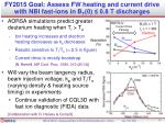 fy2015 goal assess fw heating and current drive with nbi fast ions in b t 0 0 8 t discharges