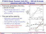 fy2015 goal sustain fully ni i p 300 ka h mode plasmas with only fw power