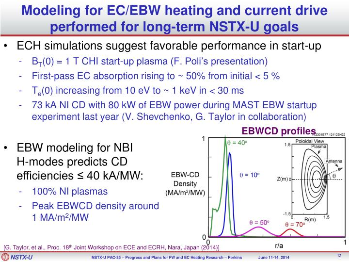 Modeling for EC/EBW heating and current drive performed for long-term NSTX-U goals