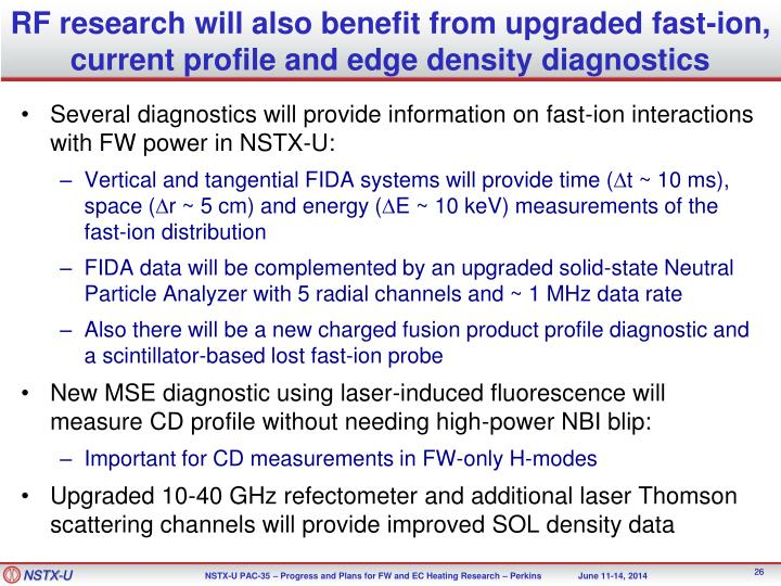 RF research will also benefit from upgraded fast-ion, current profile and edge density diagnostics