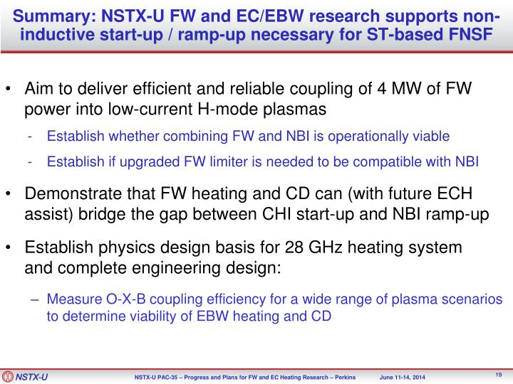 Summary: NSTX-U FW and EC/EBW research supports non-inductive start-up / ramp-up necessary for ST-based FNSF