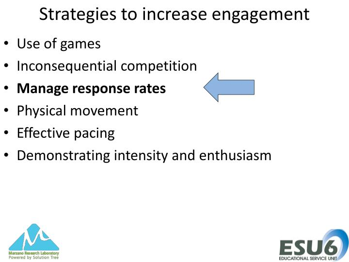 Strategies to increase engagement