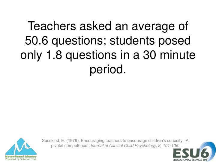 Teachers asked an average of 50.6 questions; students posed only 1.8 questions in a 30 minute period.