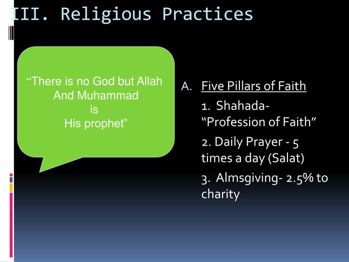 III. Religious Practices