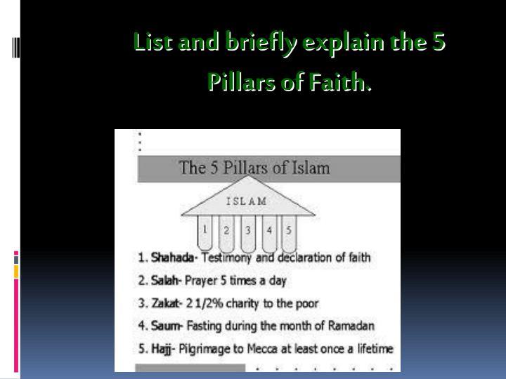 List and briefly explain the 5 Pillars of Faith.