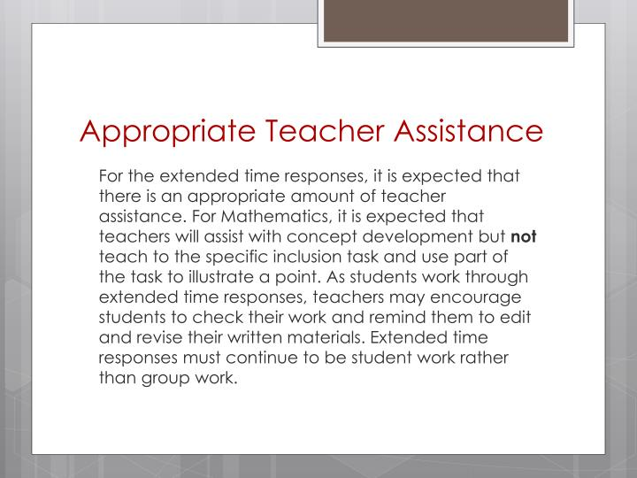 Appropriate Teacher Assistance