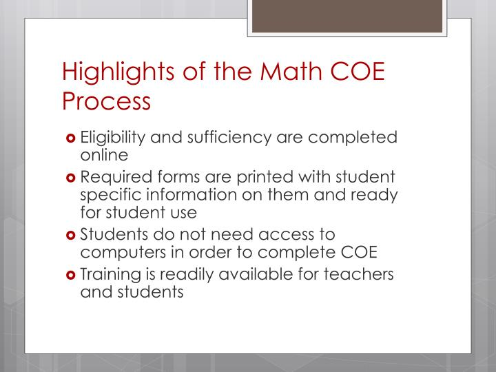 Highlights of the Math COE