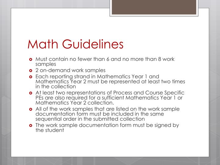 Math Guidelines
