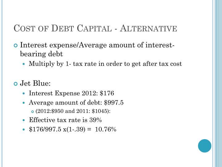Cost of Debt Capital - Alternative