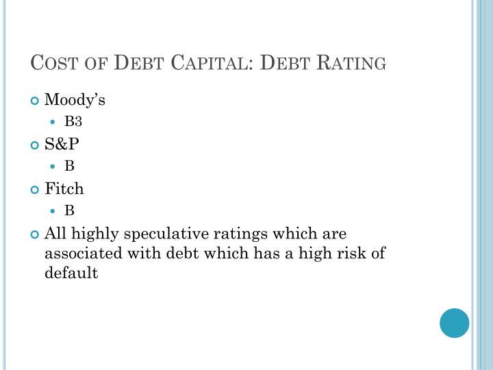 Cost of Debt Capital: Debt Rating