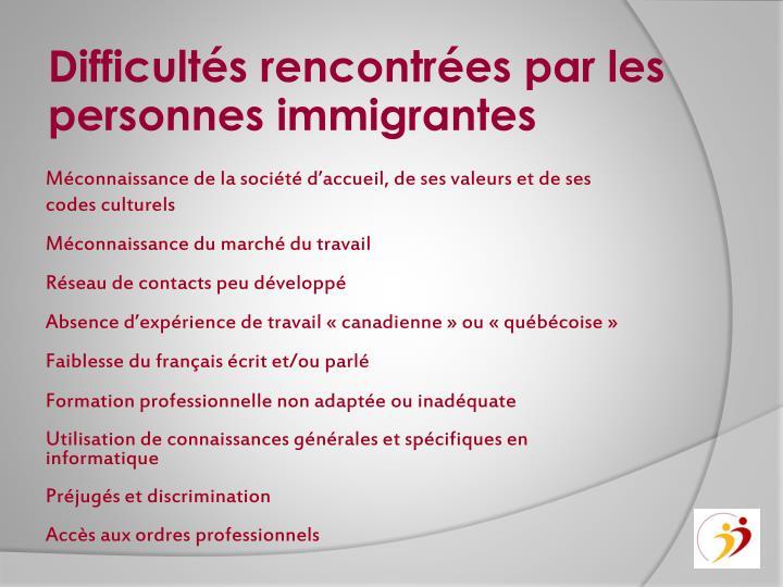 Difficultés rencontrées par les personnes immigrantes