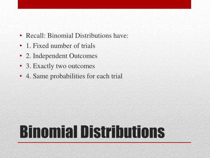 Recall: Binomial Distributions have: